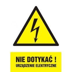Nie dotykać. Urządzenie elektryczne. Folia samoprzylepna 7,4 x 10,5 cm