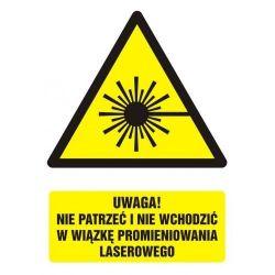 Uwaga! Nie patrzeć i nie wchodzić w wiązkę promieniowania laserowego. Folia samoprzylepna 5,25 cm x 7,4 cm