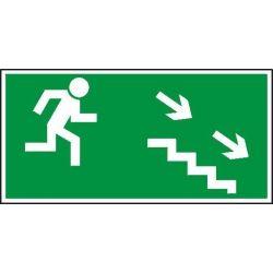 Kierunek do wyjścia drogi ewakuacyjnej schodami w dół w prawo. Płyta fluorestencyjna 15x30 cm
