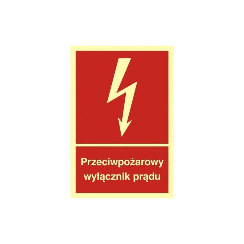 Przeciwpożarowy wyłącznik prądu. Płyta fluorestencyjna 15x22,2 cm
