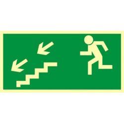 Kierunek do wyjścia drogi ewakuacyjnej schodami w dół w lewo. Płyta fluorestencyjna 15x30 cm