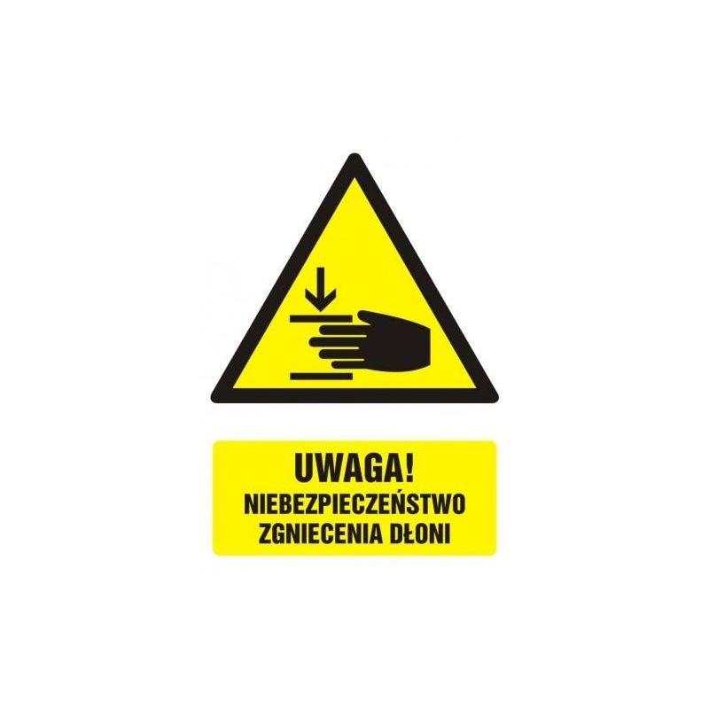 Uwaga!Niebezpieczenstwo zgniecenia dłoni.Folia 7,6x10,7