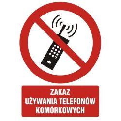 Zakaz używania telefonów komórkowych.Folia 10x14,8