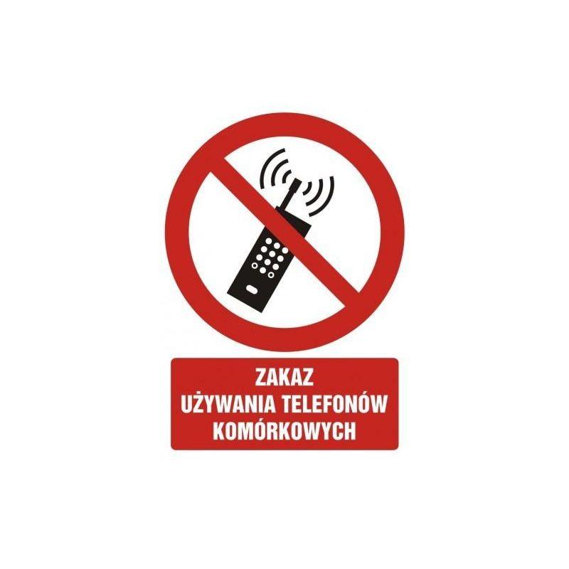 Zakaz używanai telefonów komórkowych.Płyta 10,5x14,8