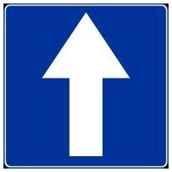 Znak wskazujący kierunek - niebieski. Płyta 150x150 mm