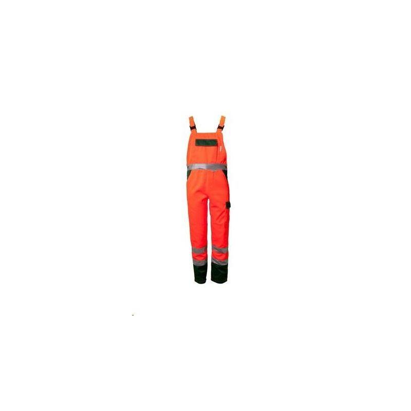 Spodnie ogrodniczki dwukolorowe ostrzegawcze PLANAM /pomarańczowy-zieloy/