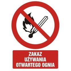 Zakaz używania otwartego ognia.Płyta 21x29,7