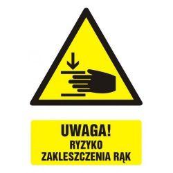 UWAGA! Ryzyko zakleszczenia rąk.Folia 10,5x14,8