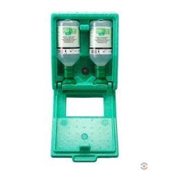 Zestaw naścienny zamykany COMBI - roztwór do płukania oka, ciało obce, kwas i zasada, butelka 1*200 ml, 1*500 ml, 133.223.250