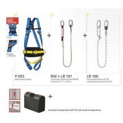 Zestaw Basic 5S(szelki bezpieczenstwa+ amortyzator bezpieczenstwa z linką+ linka bezpieczenstwa z zatrzaśnikami stalowymi + wore