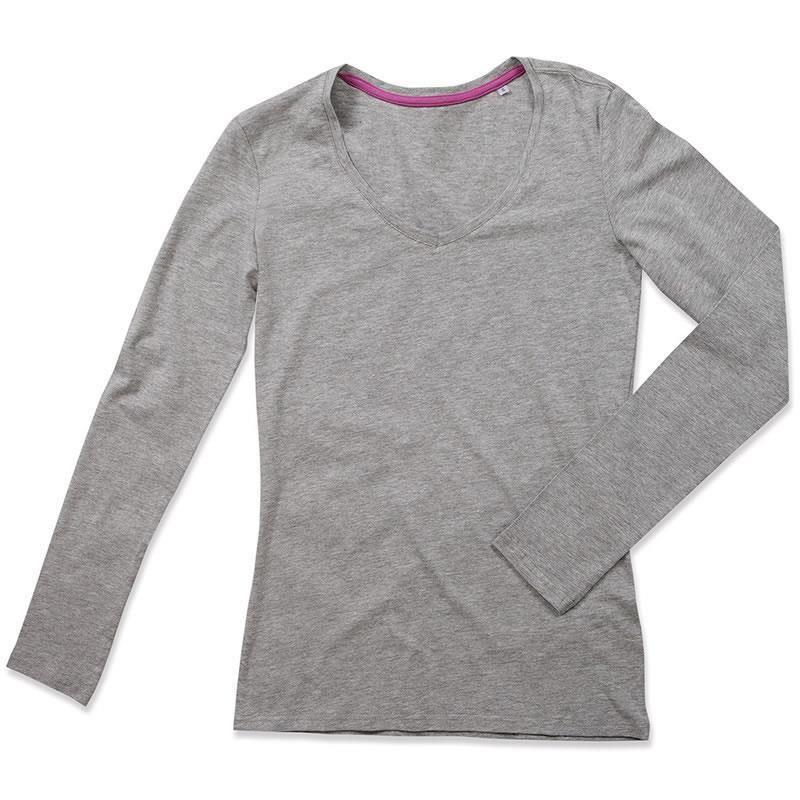 T-shirt STEDMAN Stars Claire V-neck długi rękaw damski, ciemny szary