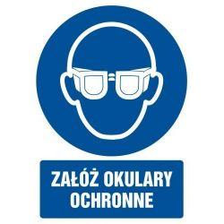 Załóż okulary ochronne. Folia samoprzylepna 5,25 x 7,4 cm