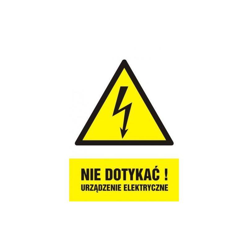 Nie dotykać. Urządzenie elektryczne. Płyta 14,8 x 21
