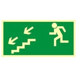 Kierunek wyjścia drogi ewakuacyjnej schodami w dół w lewo. Płyta fluorescencyjna 15x30 cm