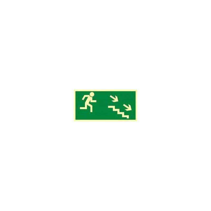 Kierunek wyjścia drogi ewakuacyjnej schodami w dół w prawo. Płyta 10x20
