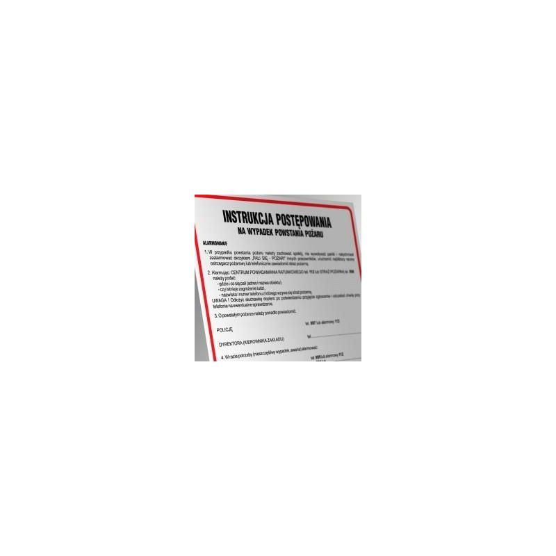 Instruckja przeciwpożarowa dla budynków administracyjnych i biurowych. Płyta elastyczna 24,5x35 cm