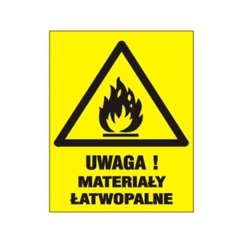 UWAGA! Materiały Łatwo Zapalne. Płyta żółta 25x34,5 cm