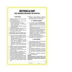 Instrukcja BHP przy obsłudze elektronarzędzi (wiertarki, szlifierki, piły, wyrzynarki). Płyta elastyczna 35x24,5 cm