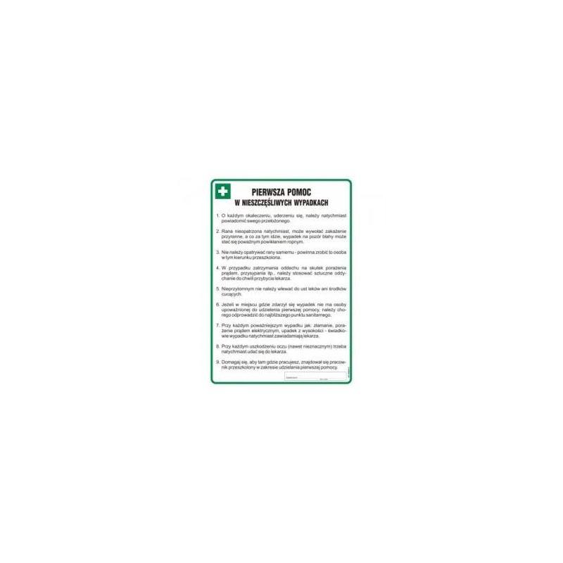 Instrukcja- pierwsza pomoc w nieszczęśliwych wypadkach. Płyta elastyczna 24,5x35 cm