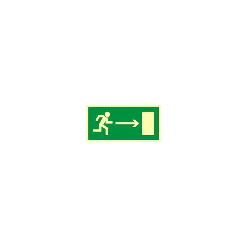 Kierunek do wyjścia drogi ewakuacyjnej w prawo. Płyta fluorestencyjna 15x30 cm