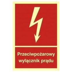 Przeciwpożarowy wyłącznik prądu. Folia samoprzylepna fluorestencyjna 15x22,2 cm