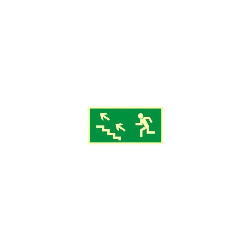 Kierunek do wyjśia drogi ewakuacyjnej schodami w górę w lewo. Płyta fluorestencyjna 15x30 cm