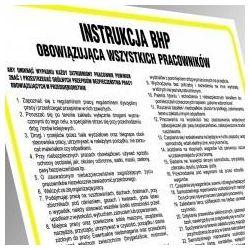 Instrukcja BHP przy czynnościach zawodowych cukiernika. Płyta 33x46 cm