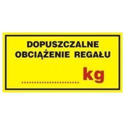 Dopuszczalne obciążenie regału...kg. Płyta żółta 5x10 cm