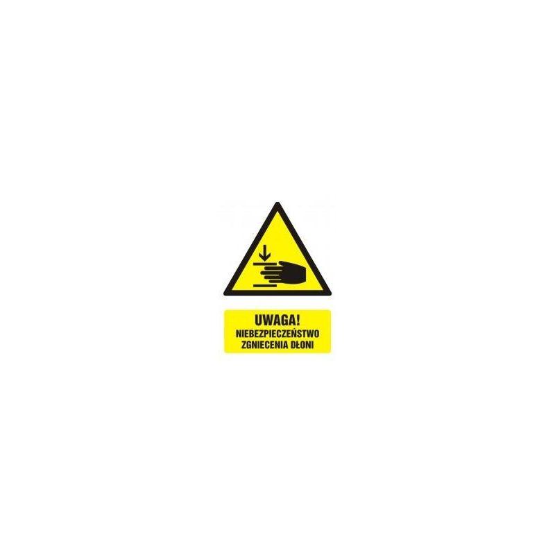 Uwaga! Niebezpieczeństwo zgniecenia dłoni. Folia samoprzylepna 10,5x14,8 cm
