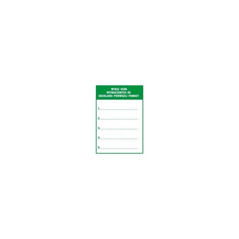 Wykaz osób wyznaczonych do udzialania pierwszej pomocy. Folia samoprzylepna 10,5x14,8 cm