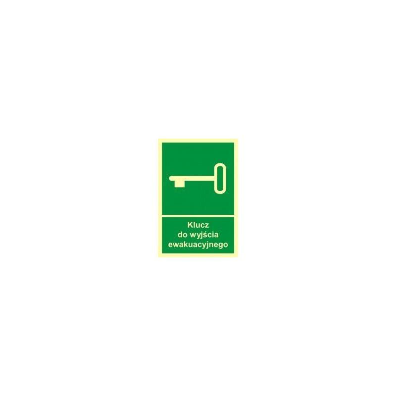 Klucz do wyjścia ewakuacyjnego. Płyta fluorestencyjna 10x14,8 cm