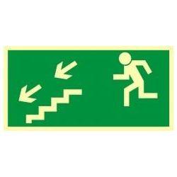Kierunek do wyjścia drogi ewakuacyjnej schodami w dół w lewo. Płyta fluorestencyjna 10x20 cm