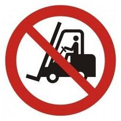 Ostrzeżenie przed urządzeniami do transportu poziomego. Folia samoprzylepna 22,5x22,5 cm