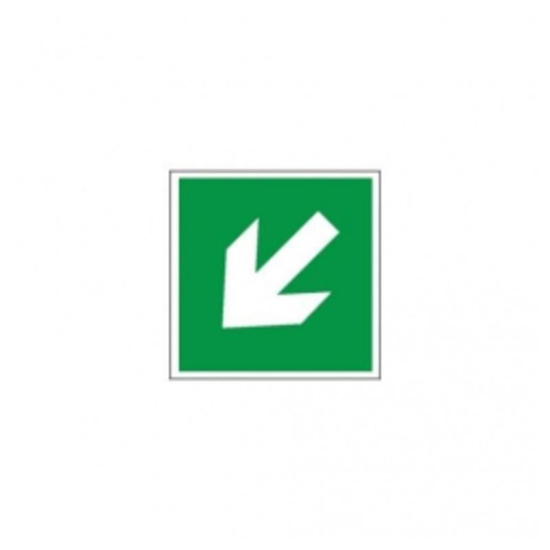 Kierunek ewakuacji- ukośna LIGHT. Płyta fluorestencyjna 15x15 cm