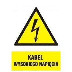 Kabel wysokiego napięcia-niebezpieczeństwo dla życia. Folia samoprzylepna 16,5x12 cm