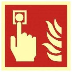 Alarm pożarowy -przycisk alarmowy.Folia samoprzylepna fluoroestencyjna 10x10cm