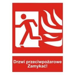 Drzwi przeciwpożarowe Zamykać!- lewe LIGHT. Płyta 20x15 cm