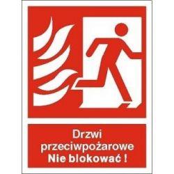 Drzwi przeciwpożarowe Nie blokować!. Płyta 20x15 cm