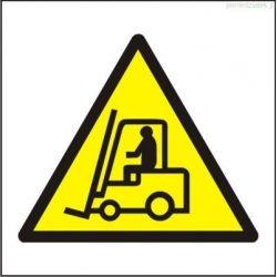 Ostrzeżenie przed urządzeniami do transportu poziomego. Folia samoprzylepna 5x5 cm