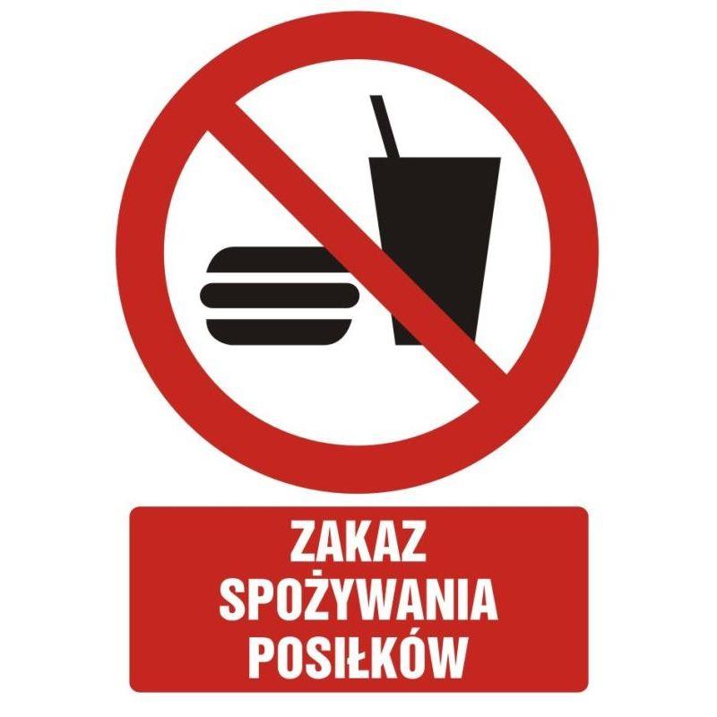Zakaz spożywania posiłków. Folia samoprzylepna 10,5x14,8 cm