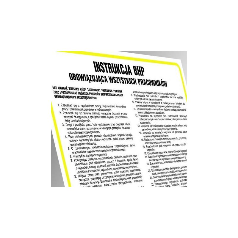 Instrukcja przeciwpożarowa dla budynków magazynujących materiały niebezpieczne. Tablica 30x24,5 cm