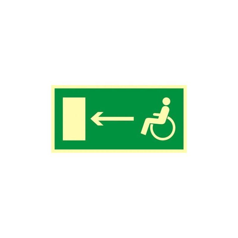 Kierunek do wyjścia drogi ewakucyjnej dla osób niepełnosprawnych w lewo. Folia fluorestencyjna 15x30 cm