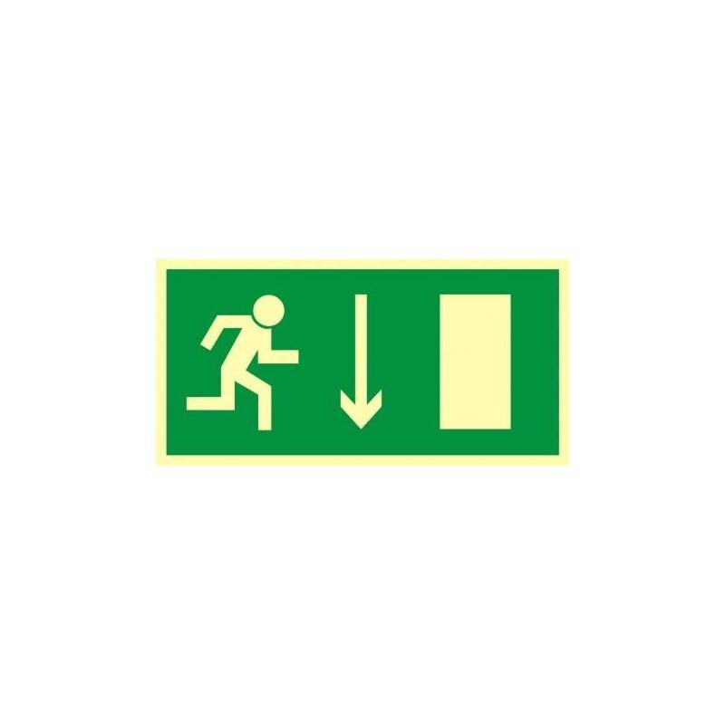Kierunek drogi ewakuacyjnej w dół. Folia fluorestencyjna 15x30 cm