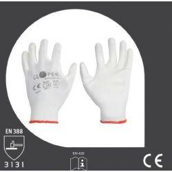 Rękawice GLOPER PU WHITE RF 4101/SM-203 poliuretanowe